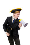 Young man in costume with pirate hat and megaphone. Isolated on white Royalty Free Stock Photos