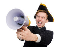 Young man in costume with pirate hat and megaphone Royalty Free Stock Photos
