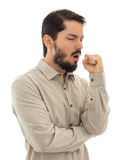 Young man with cough, isolated on white background Royalty Free Stock Photos