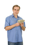Young man counting money. Isolated on white. Stock Photography