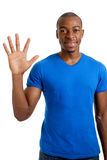 Young man counting to five Royalty Free Stock Photography