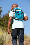 Young man on country hike royalty free stock images