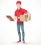 Young man courier delivery services of holding a large box Stock Photo