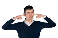 Young man cover ears. Isolated young man cover ears Stock Photo