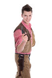 Young man in a cowboy costume for carnival Stock Photos