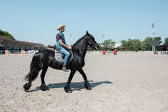 Young man in cowboy hat riding purebred brown horse. Handsome young man in cowboy hat riding purebred brown horse Royalty Free Stock Photos
