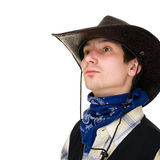 Young man in a cowboy hat Royalty Free Stock Photography