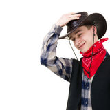 Young man in a cowboy hat Royalty Free Stock Image