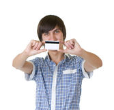 Young man with credit card Royalty Free Stock Photography