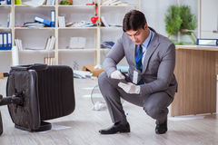 The young man during crime investigation in office. Young man during crime investigation in office royalty free stock photography