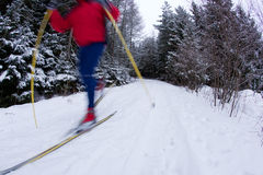 Young man cross-country skiing Royalty Free Stock Photo