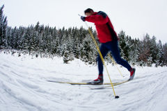 Young man cross-country skiing Royalty Free Stock Photography