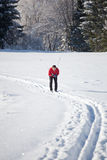 Young man cross-country skiing Stock Photos