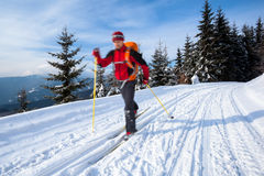 Young man cross-country skiing Royalty Free Stock Images