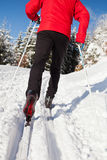 Young man cross-country skiing Stock Images