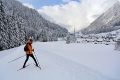Nordic Skiing, Klosterle am Arlberg, Vorarlberg, Austria. Young man cross-country skiing near by Klosterle am Arlberg in Tirol - Austria Stock Photos