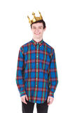 Young  man with crown isolated on white. Young handsome smilling man with crown isolated on white background Royalty Free Stock Photos