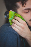 Young man cuddle his pet parrot on shoulder Royalty Free Stock Photos