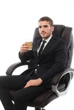 A young man with a cup of coffee Stock Photos
