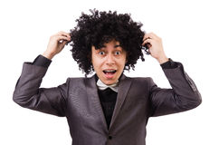 Young man with curly african wig isolated on white Royalty Free Stock Photos
