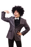 Young man with curly african wig isolated on white Stock Images