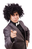 Young man with curly african wig  on white Royalty Free Stock Images