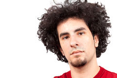 Young man with curly hair Royalty Free Stock Photos