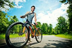 Young man cyclist Royalty Free Stock Photography