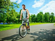 Young man cyclist Royalty Free Stock Image