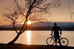 Young man cyclist silhouette on pink orange sky and sunset background on the beach. Royalty Free Stock Image