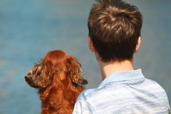 Young man and dachshund from back against water Royalty Free Stock Image