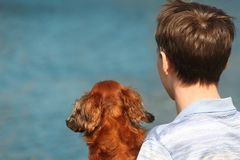 Young man and dachshund  from back against water Stock Photography