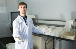 Young man on the dairy manufacture Royalty Free Stock Image
