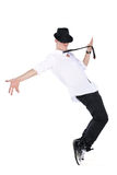 Young man dancing. Isolated on a white background Royalty Free Stock Photos