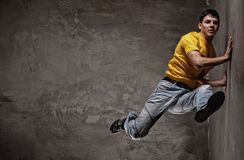 Young man dancing royalty free stock images