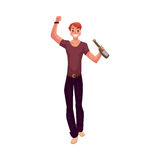 Young man dancing with beer bottle at party, night club Royalty Free Stock Photos