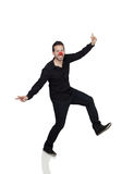 Young Man Dancing With Clown Nose Royalty Free Stock Image