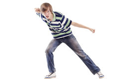 Young man dancing locking or hip-hop Royalty Free Stock Images