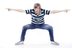 Young man dancing locking or hip-hop Royalty Free Stock Image