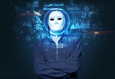 Young man on dark background, face recognition concept stock image