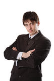Young man in dark suit royalty free stock photos
