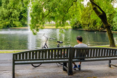 Young man day dreaming on a wooden bench in the park royalty free stock photo