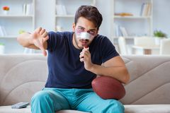 Young man defeated in sports game suffered loss with broken blee stock photos