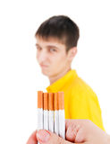Young Man deny a Cigarettes. Isolated on the White Background Stock Image