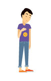 Young Man in Depression Flat Vector Illustration Royalty Free Stock Photography