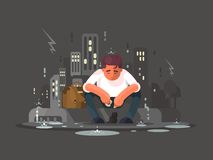 Young man in depression. Young man sitting on curb in depression in rain. Vector illustration Royalty Free Stock Images