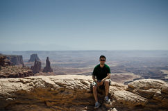 Young man in the desert Stock Photography