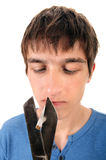 Young Man destroy a Cigarette Stock Photography