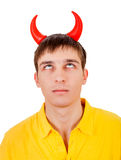 Young Man with Devil Horns. Isolated on the White Background Stock Photos