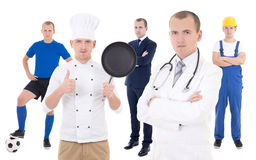 Young man in different professions - business man, soccer player Royalty Free Stock Image